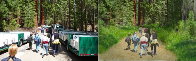 Tram area before project left. Artist rendering of new trail at same location right. - photo NPS
