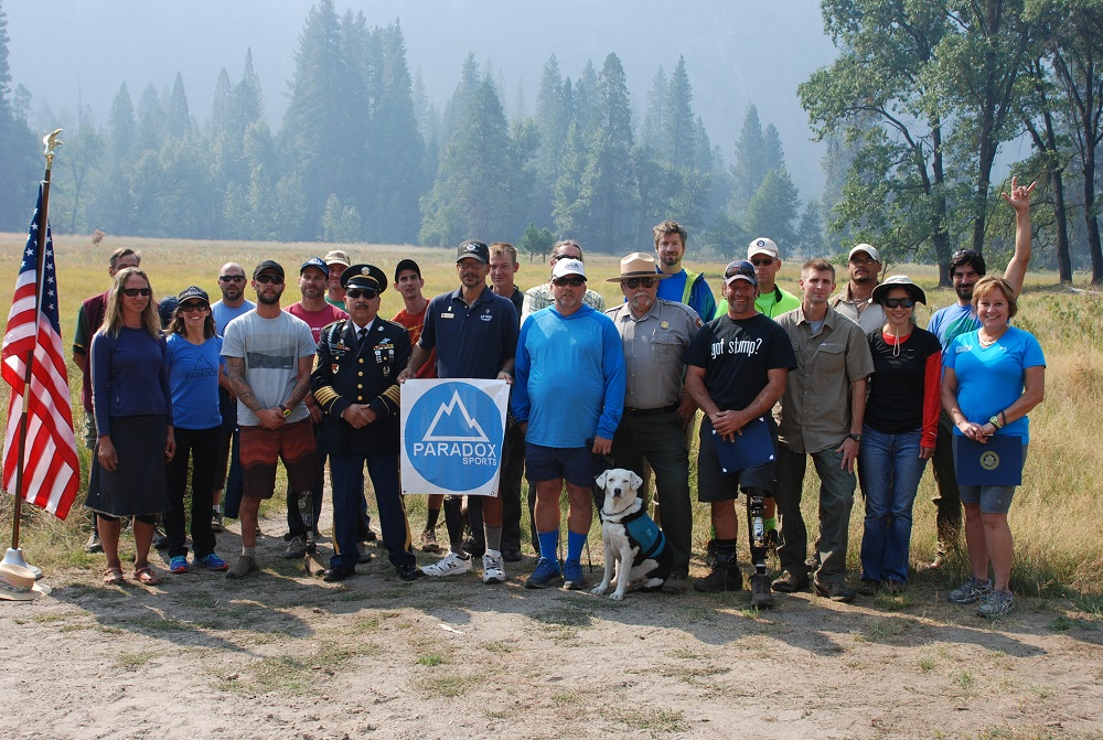 Yosemite National Park veteran employees, along with Paradox Sports veterans, at the kick-off event for the second annual climbing event conducted in Yosemite National Park - photo courtesy of Yosemite National Park