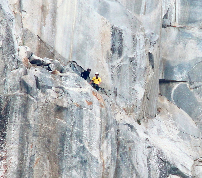 Yosemite Leaning Tower YOSAR rescue - June 2013 - Niels and Todd reach the injured climber in less than 2 hours of climbing - Photo by Tom Evans - El Cap Report