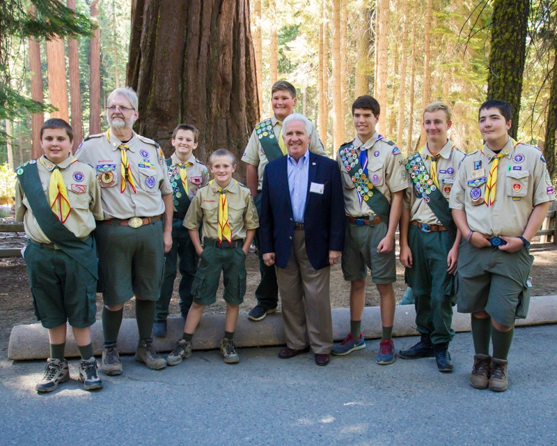 Yosemite Grant Act Anniversary 2014 - Members of Boy Scout Troop 341 out of Oakhurst pose with Representative Jim Costa D-16th - photo credit Virginia Lazar