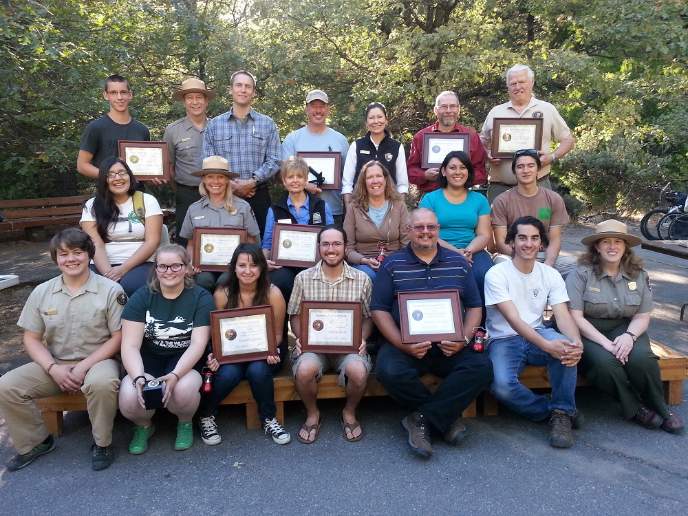 2013 Volunteers pose with Yosemite park staff after receiving awards for their volunteer work in Yosemite National Park - photo courtesy of NPS Photo