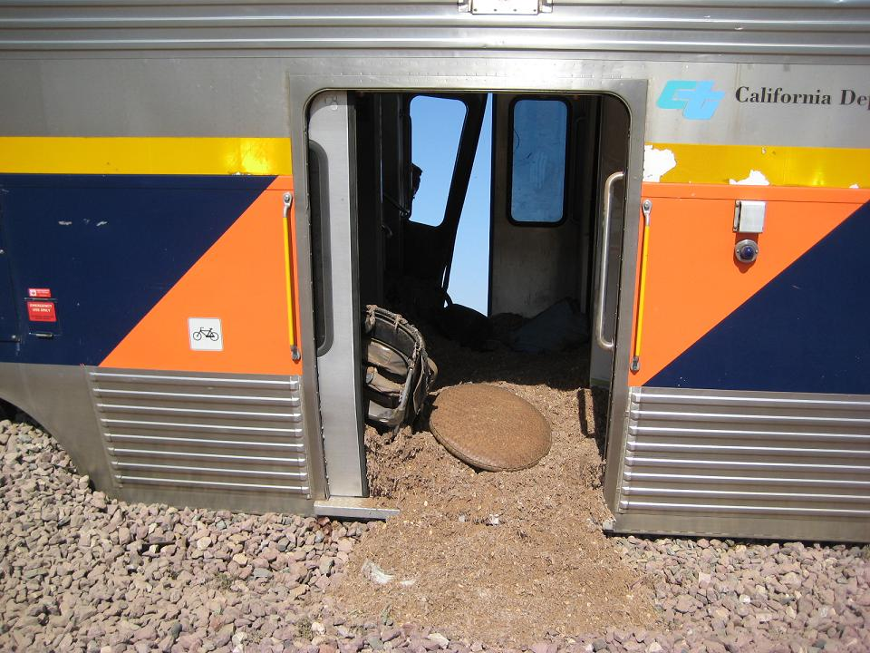Amtrak Derailment- Ballast Inside The Car 10-1-12