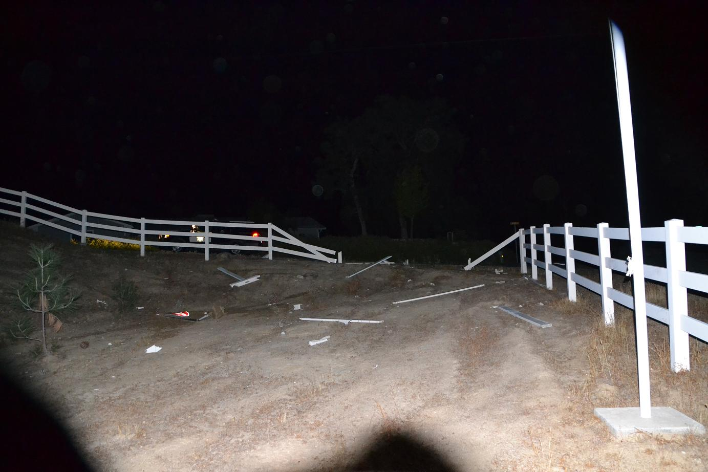 Wrecked fence on Revis Road