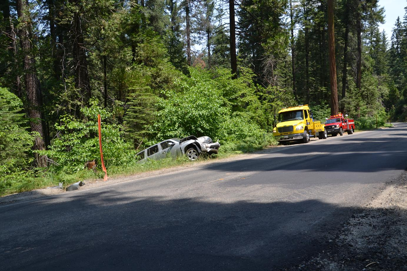 Chevy HHR off the road north of Sugar Pine