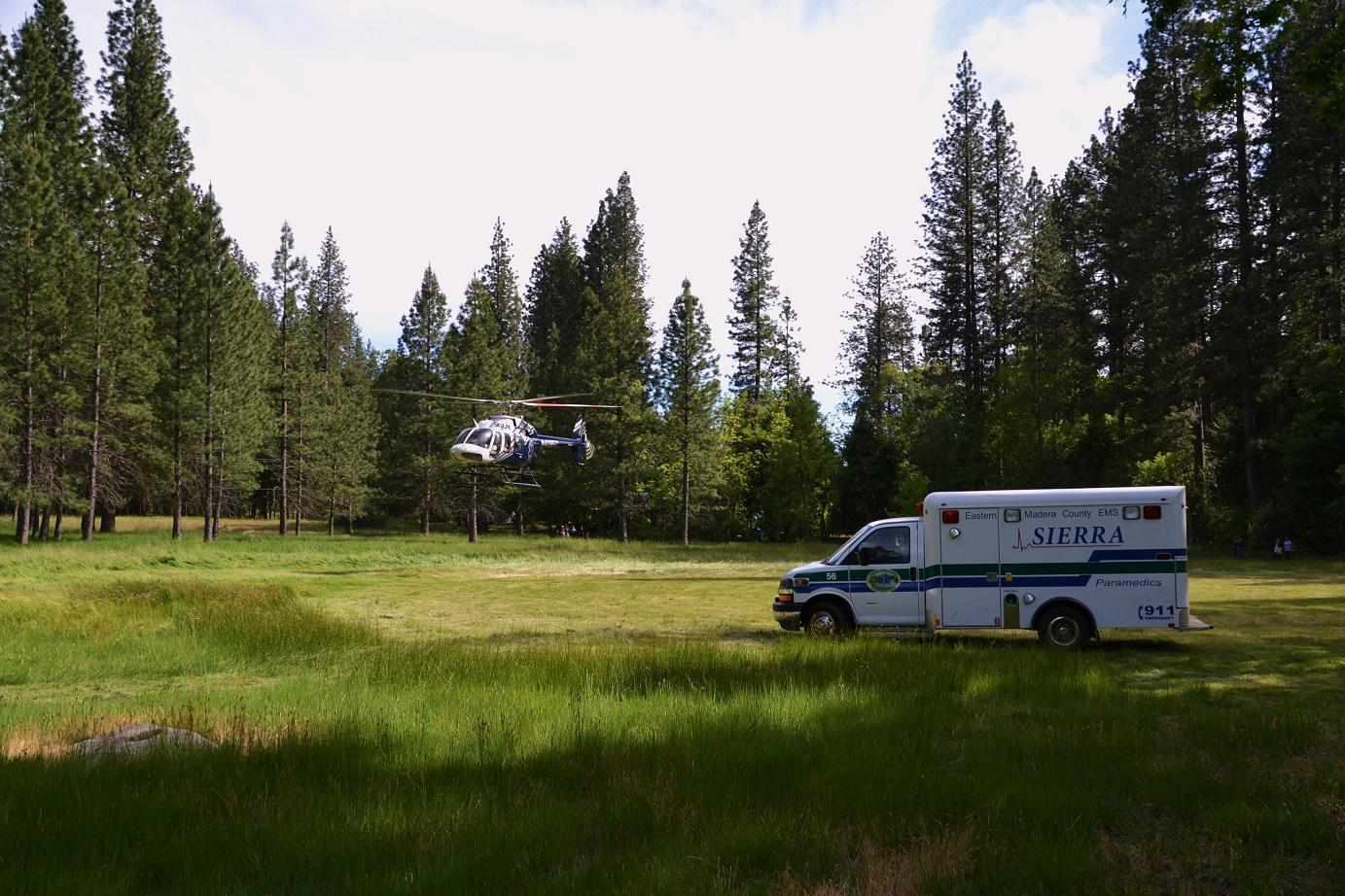 Ambulance and Helicopter at Cascadel meadow