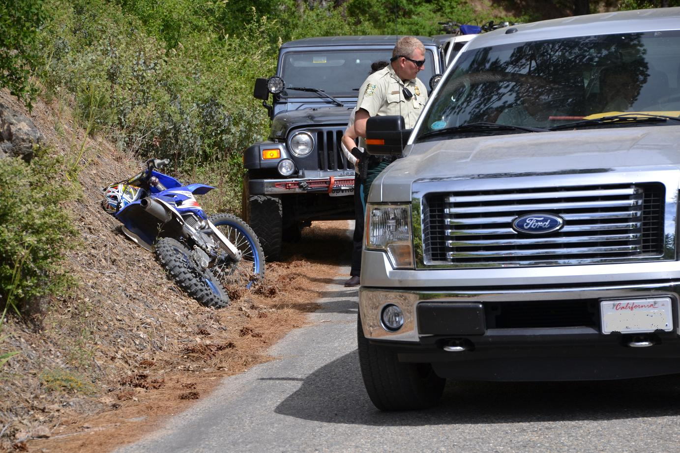 Dirt Bike and Jeep involved in accident