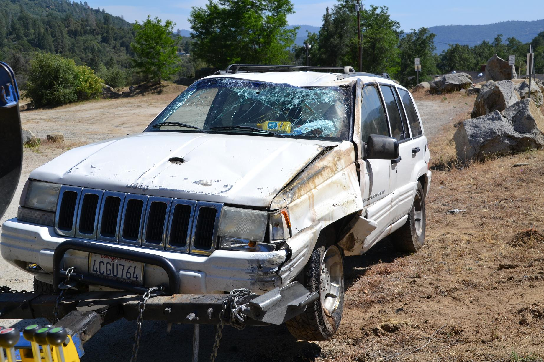 Cheryl's Jeep Grand Cherokee after the accident