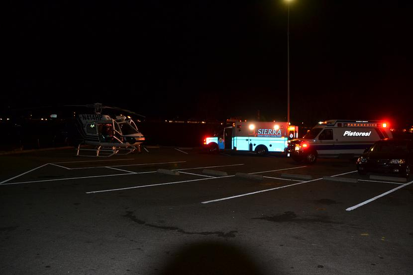 Helicopter and ambulances at Park  Ride