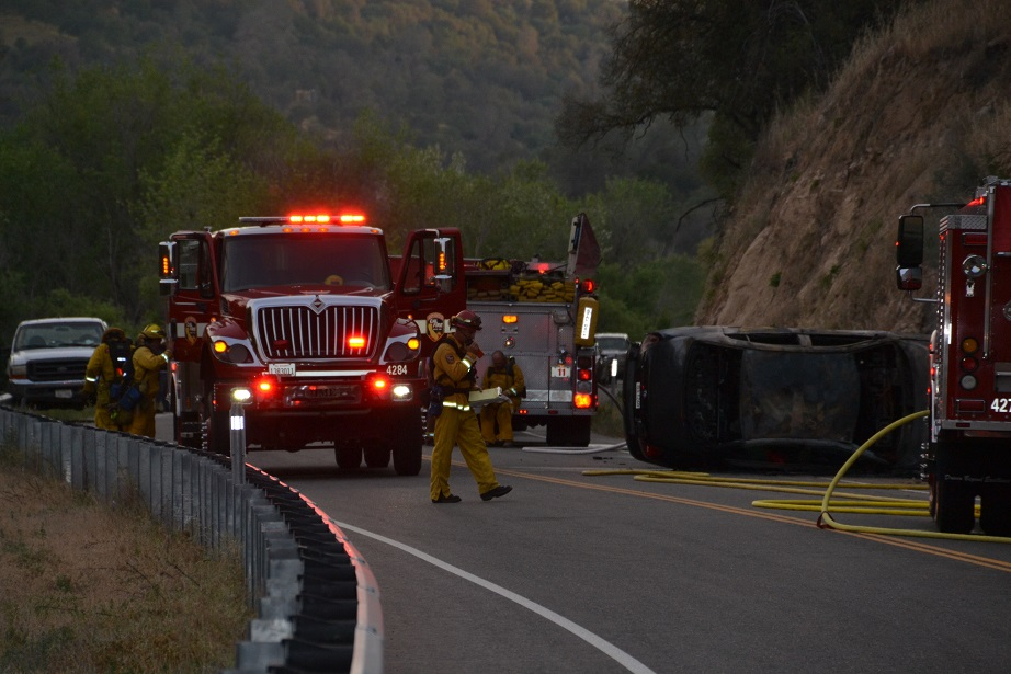 First responders at Road 200 rollover - photo by Gina Clugston Sierra News Online