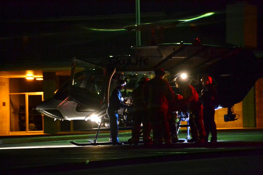 Transferring patient to SkyLife helicopter