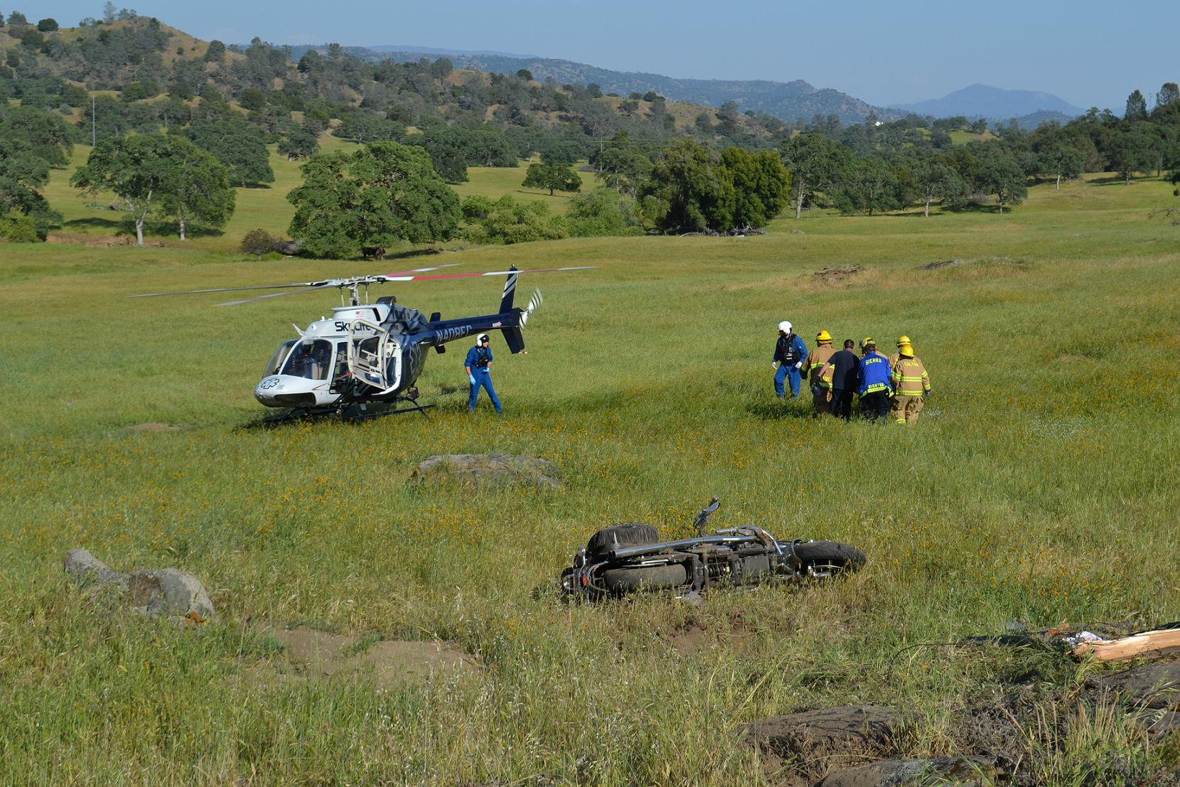 Transfering patient to helicopter 4-21-13