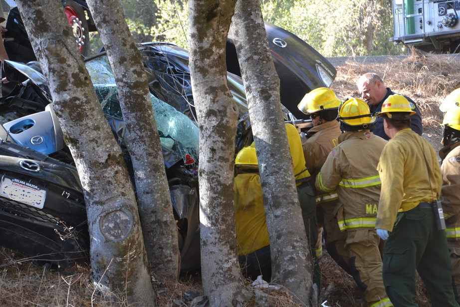 Firefighters use the Jaws of Life to free driver