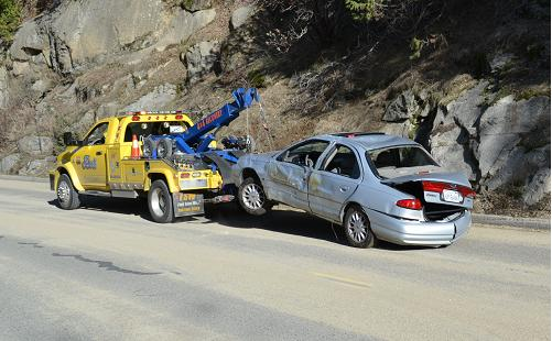 Ford Contour on the wrecker at Willow Creek Bridge