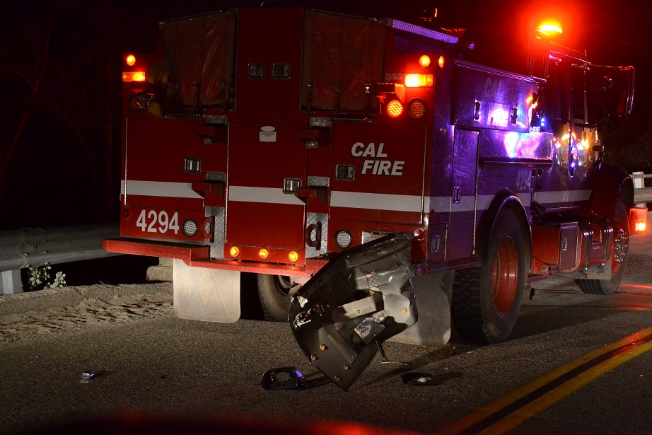 Cal Fire engine 4294 hit on accident scene