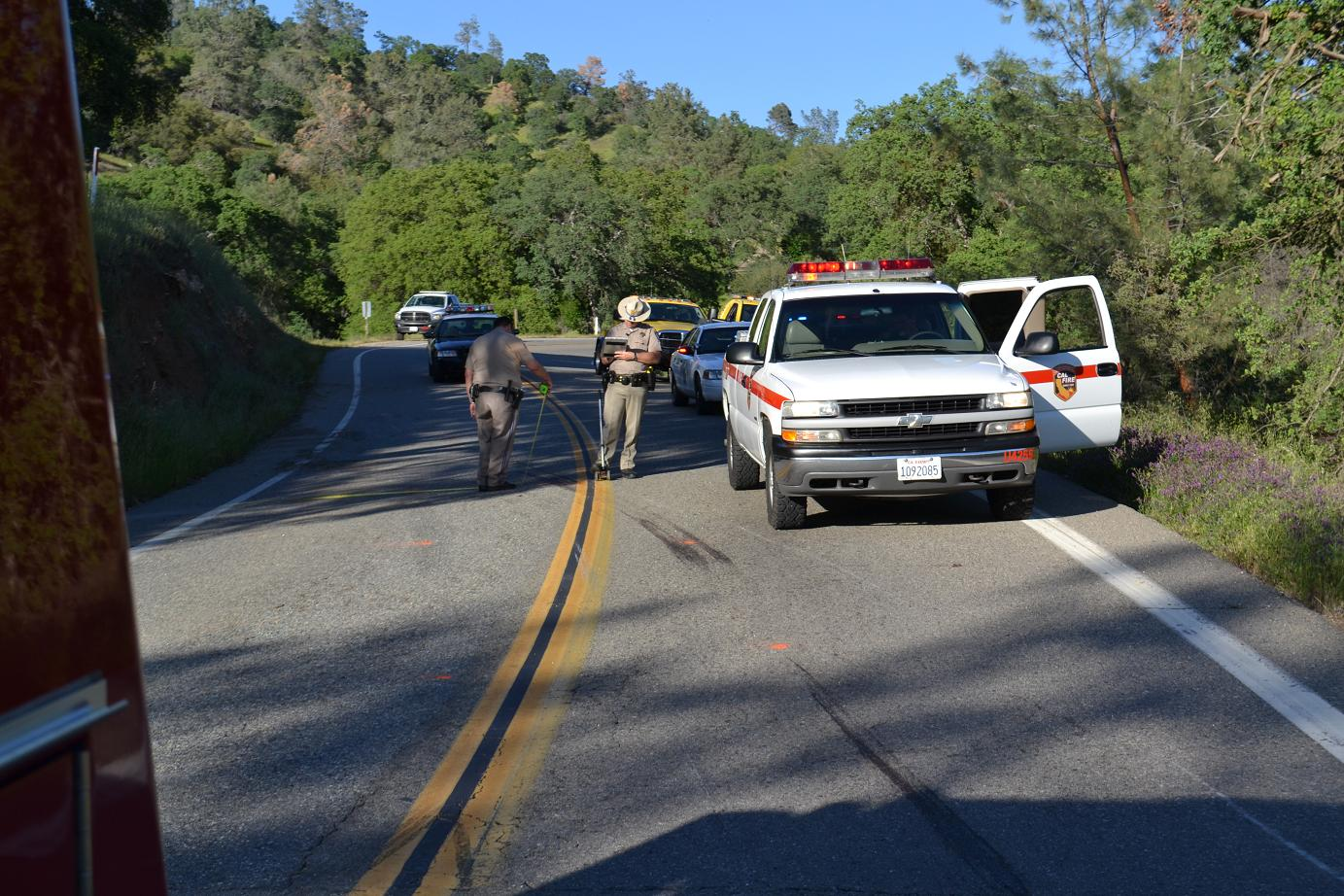 CHP measuring skid marks on Road 415