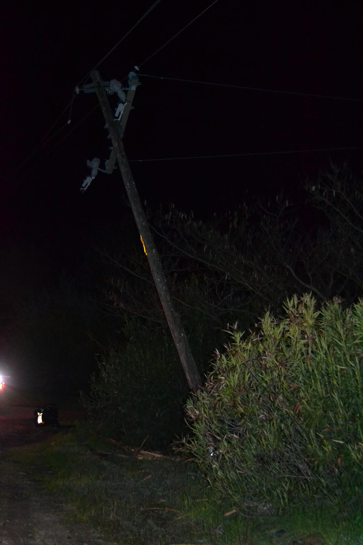 First Power pole and mailbox hit by Ford pickup