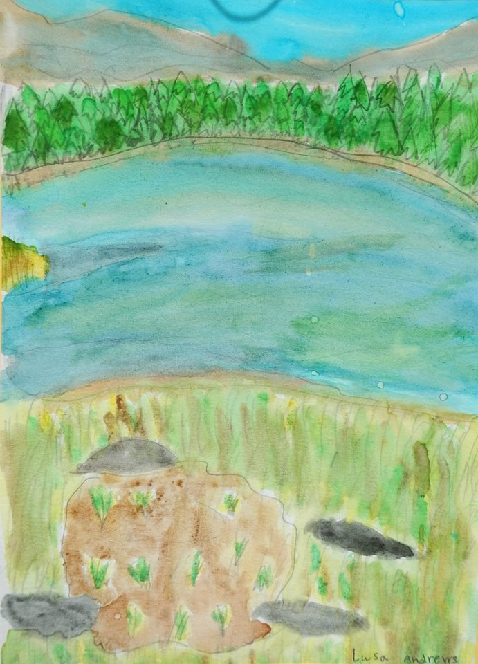 2nd - 3rd grade art - My Day at Dog Lake - by Lusa Andrews - Wawona - photo by NPS