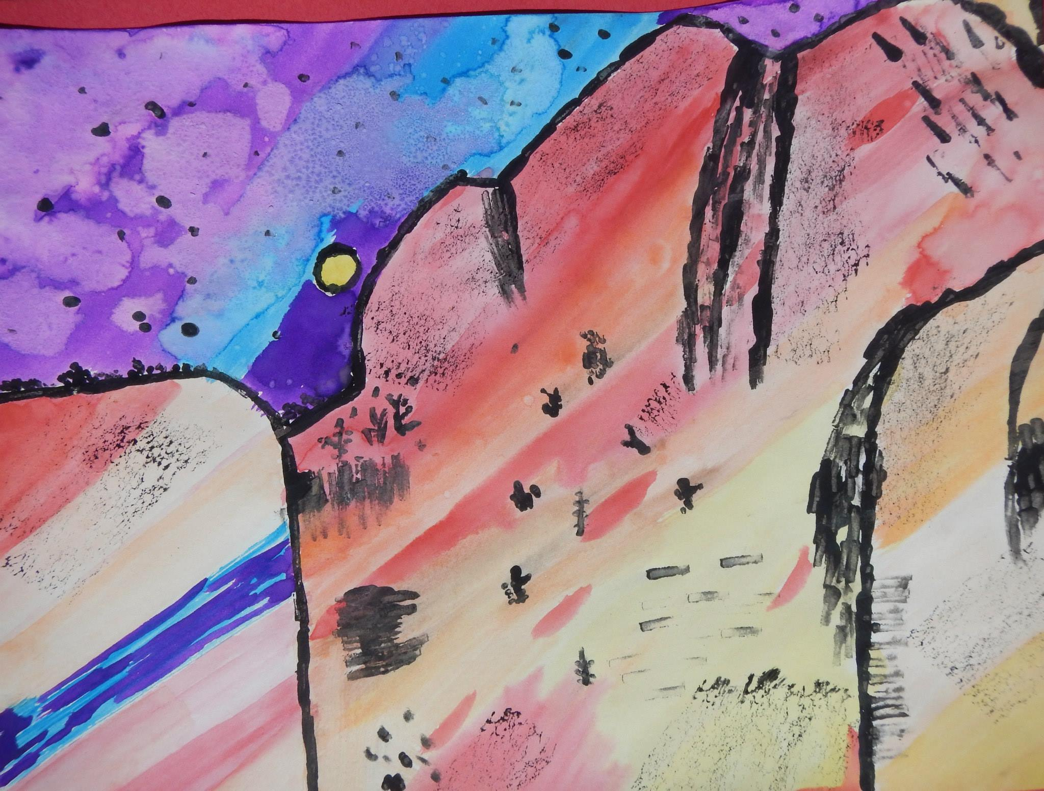 4th - 5th grade art - Ansel Adams Inspired Painting by Uriah Martinez - Bishop - photo by NPS