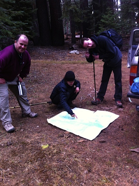 Checking out the topo map - photo by Annie Hart