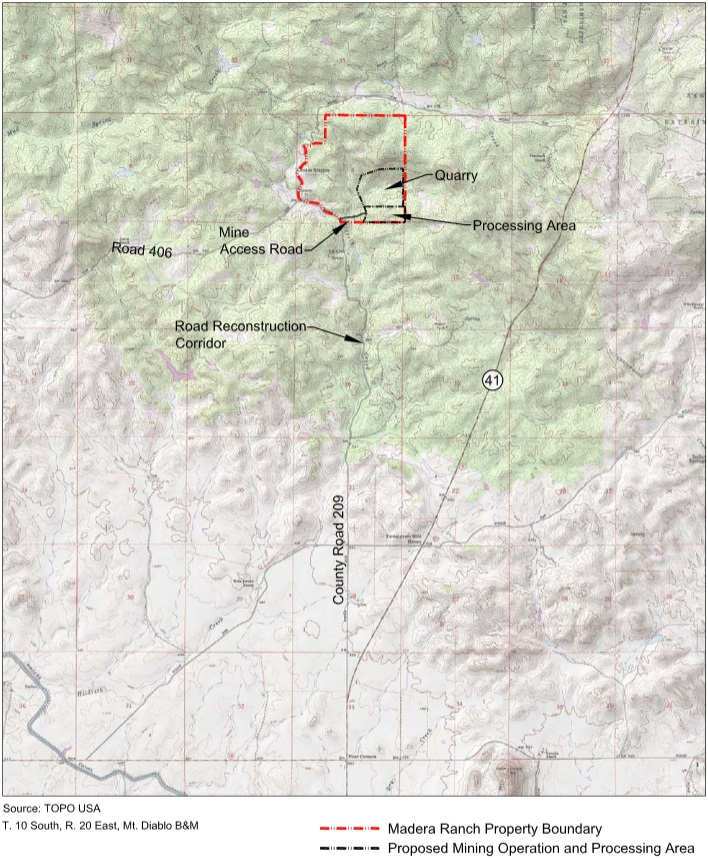 Madera Quarry Project map