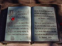 Inscription of the complete poem in a bronze book at the John McCrae memorial at his birthplace in Guelph Ontario Canada. wiki