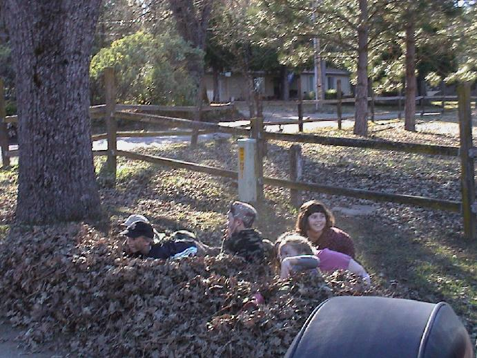 Kids in the leaves at Modorama