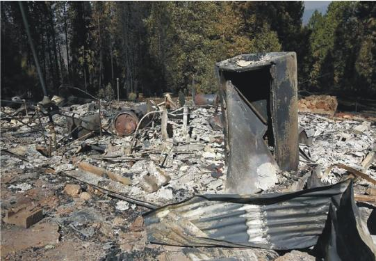 Hilltop cabin at Colfax Springs after Rim Fire - Aug 23 2013