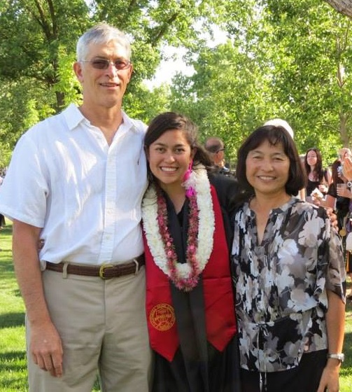 Jill and parents Mike and Judy at her college graduation 2013 - photo courtesy of Jill Nolen