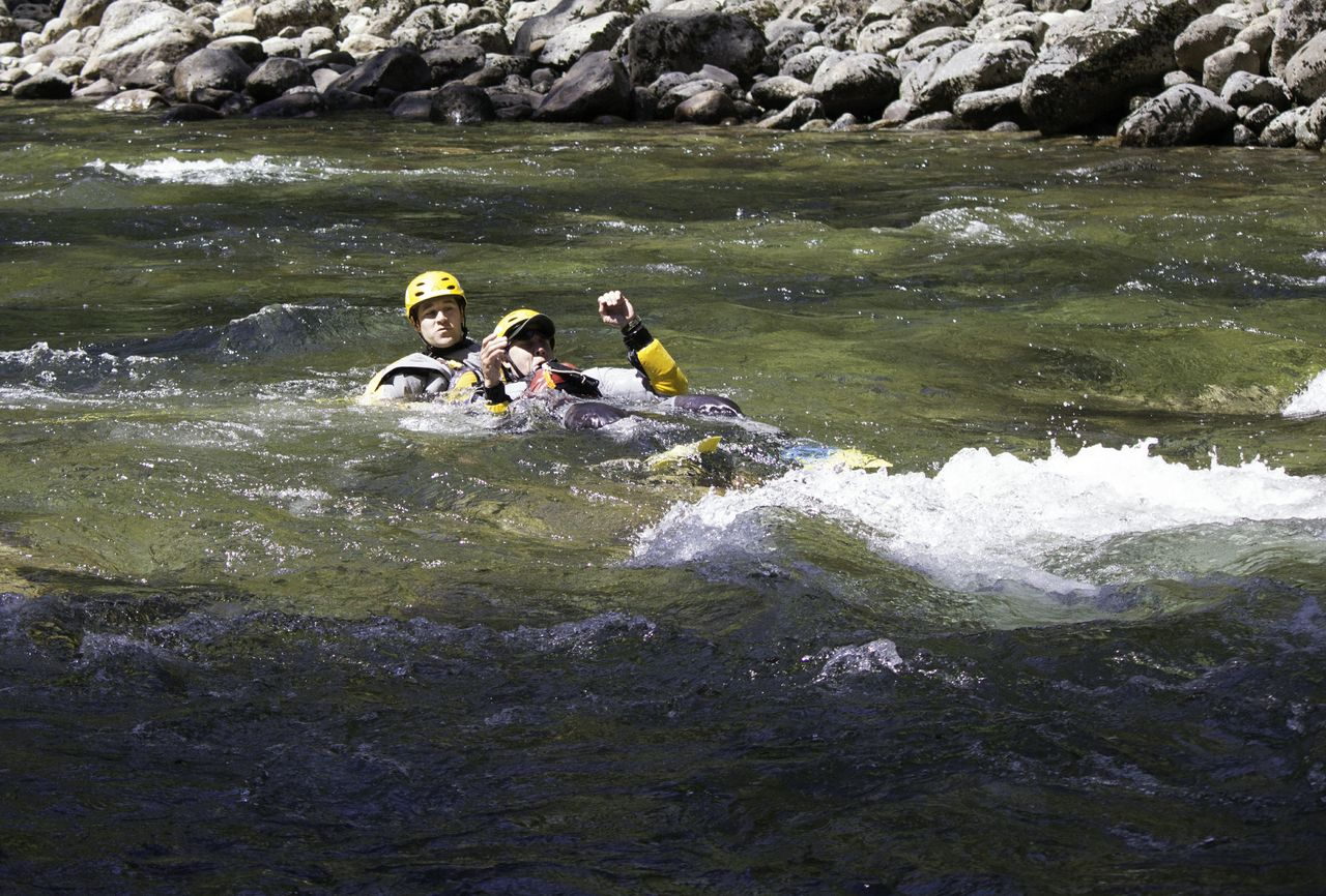 SAR Demonstrates swift water rescue technique - defensive swimming - 2013 - Photo by Virginia Lazar