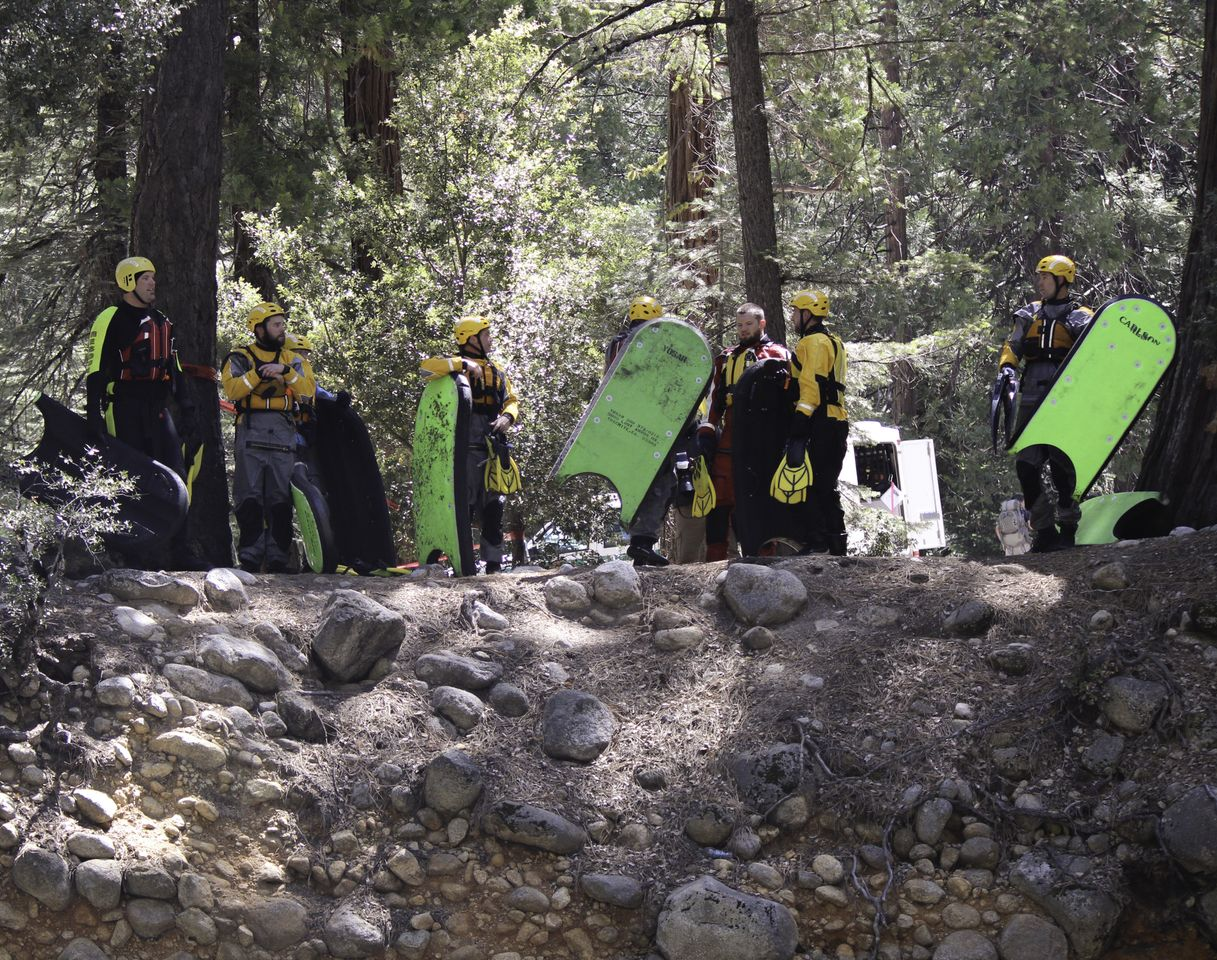 SAR Team on bank of Merced River 2013 - Photo by Virginia Lazar