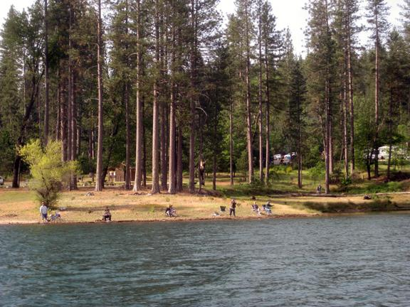 Anglers on the shore at Bass Lake - photo Larry Langley