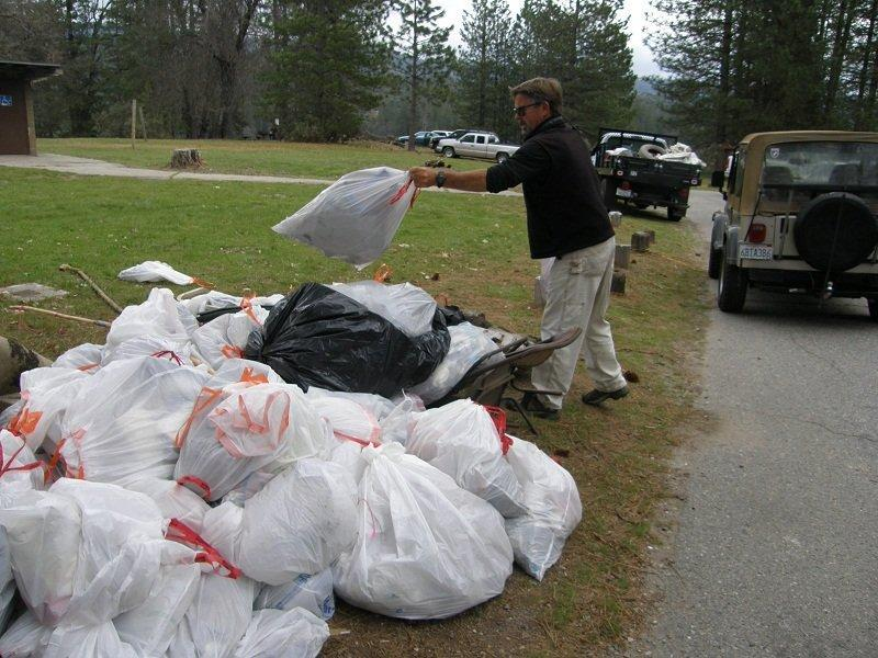 Garbage collected at Bass Lake Clean Up Day