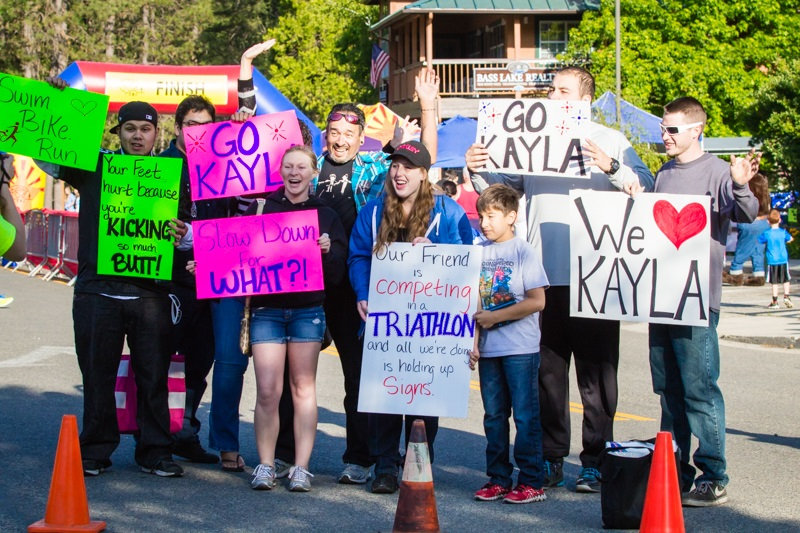 Kaylas fans were out in force at the Bass Lake Tri 2014 - photo by Virginia Lazar