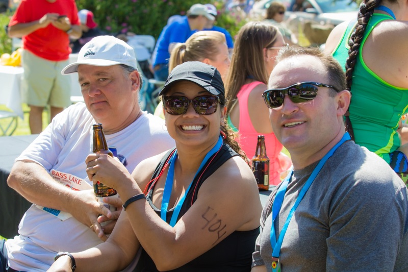 Stan Lawrence Jenny and Dr Peter after the Bass Lake Triathlon 2014  - photo by Virginia Lazar