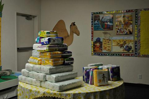 Diapers at Community Baby Shower