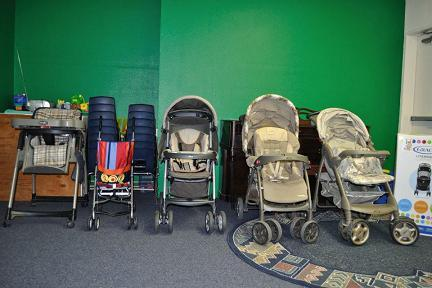 Strollers at Community Baby Shower