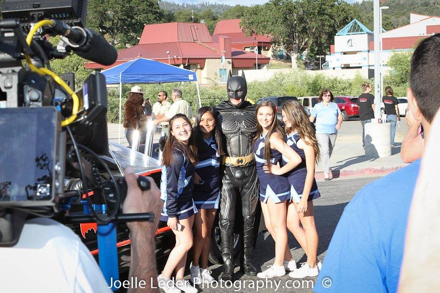 YHS Cheerleaders and camera crew with Batman and Batmobile ELKS Challenge 2015 - Joelle Leder Photography