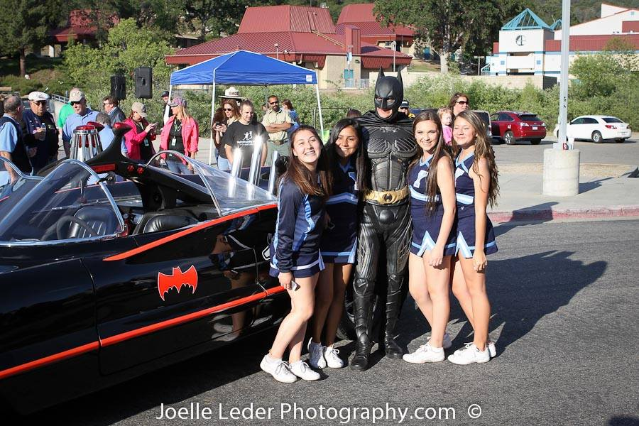 YHS Cheerleaders with Batman and Batmobile ELKS Challenge 2015 - Joelle Leder Photography