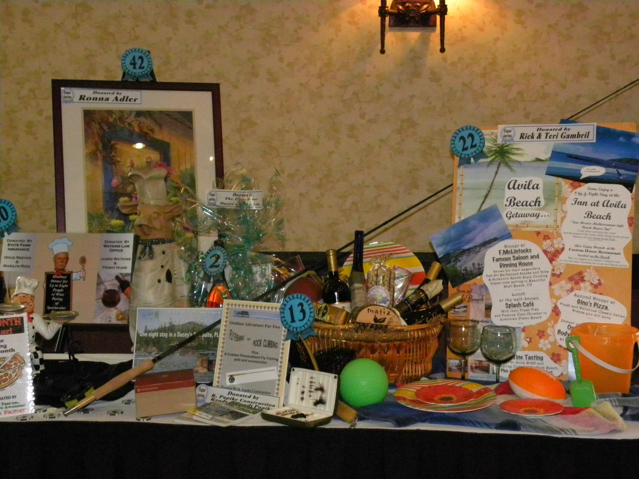 Goodies amassed for the 2013 Elegant Auction to benefit Oakhurst Community Park - photo courtesy of Auction Committee