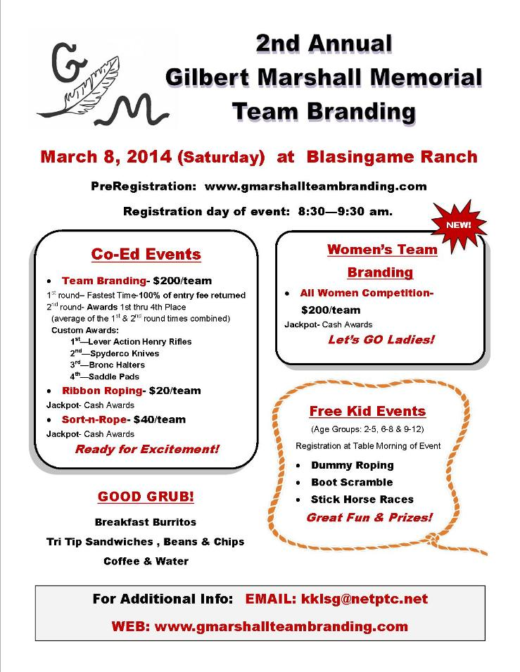 Gilbert Marshall Flier for 3-8-14