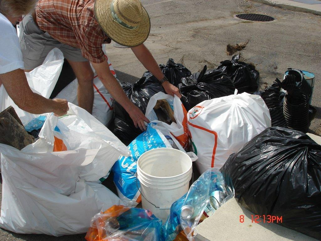 Bags of Trash from River Cleanup