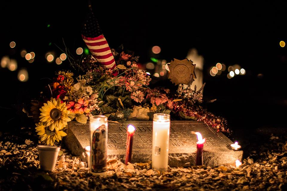 Hornitos 2013 CU grave lit by candles and decorated for Day of the Dead in Hornitos - photo by Virginia Lazar
