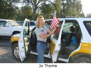 Jo Thome with flags