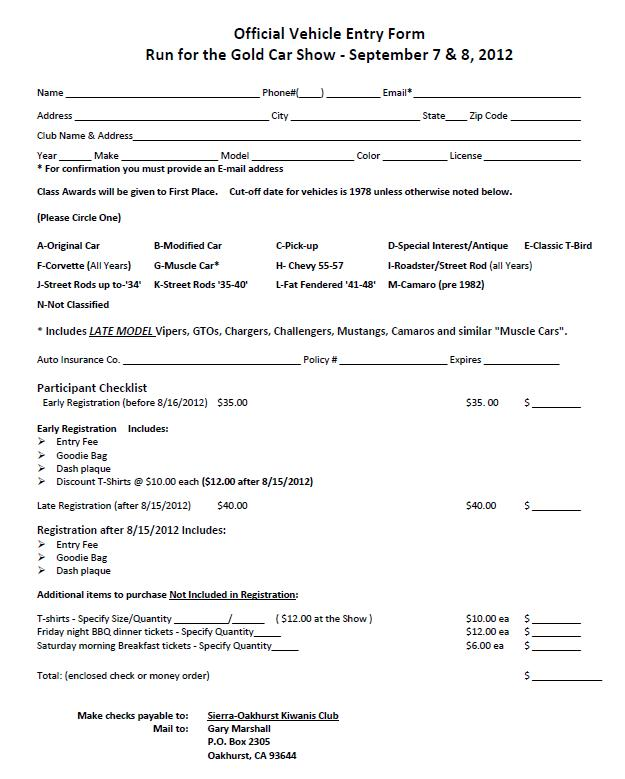 Kiwanis 10th annual classic car show entry form