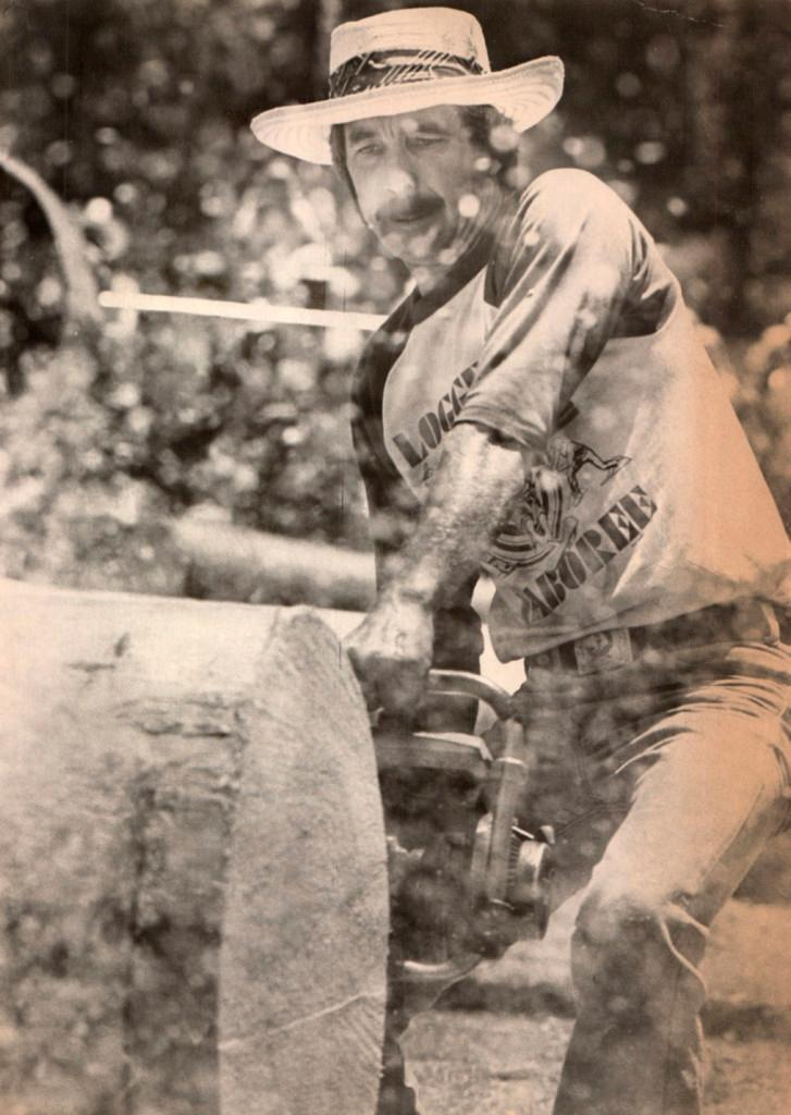 Tom Wheeler 1982 current Madera County Supervisor and multiple time Overall Champion of Mid-Sierra Logger Jamboree competition