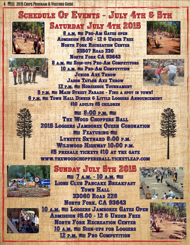 Schedule of Events 2015 Loggers Jamboree - courtesy of North Fork Boosters