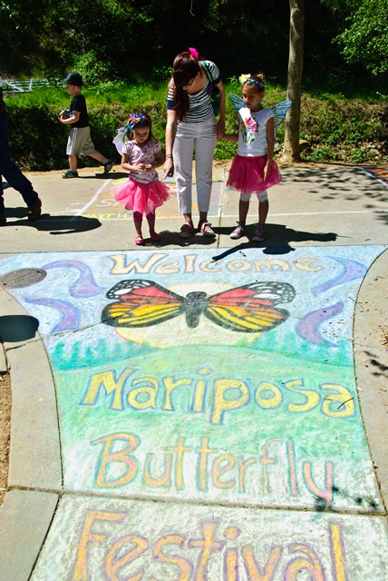 Mariposa Butterfly Festival - Welcome to the festival on sidewalk chalk - Photo courtesy of Charles Phillips Stone Creek Gallery Mariposa