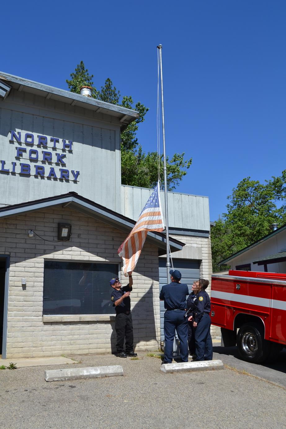 Lowering the flag at the old station 5-10-13
