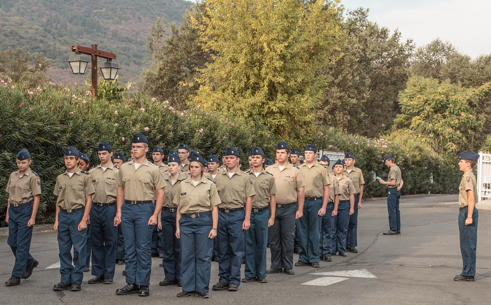 Yosemite High School Cadet Corps led by Junior Vice Commandant Bud Russell - Photo by Virginia Lazar