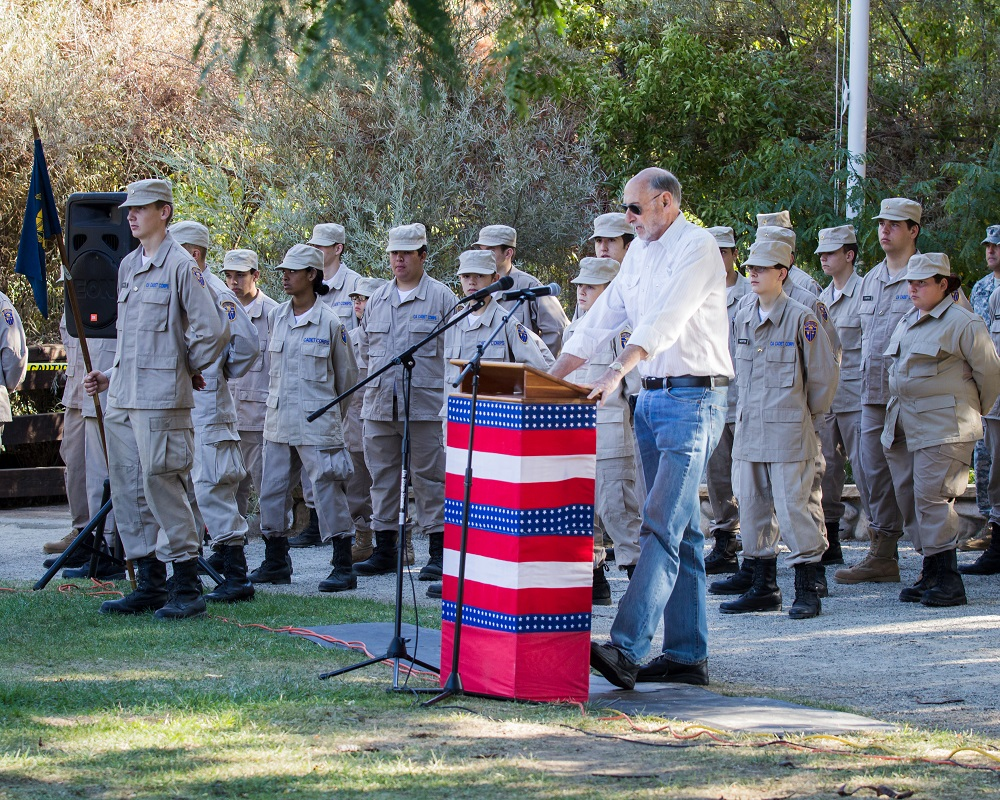 AMVET representative Dave Wolin addresses the crowd at Patriot Day 2014 - photo by Virginia Lazar